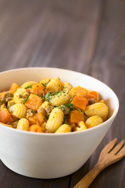 Macaroni Pasta with Pumpkin and Mincemeat Stock photo © ildi