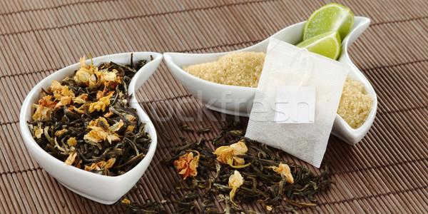 Teabag, Tea, Sugar and Lemon Stock photo © ildi