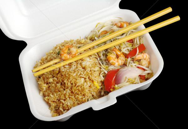 Fried Rice with Prawns and Chopsticks Stock photo © ildi