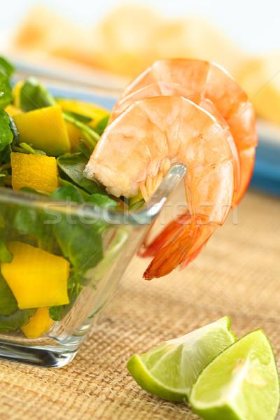 Shrimps with Watercress Salad Stock photo © ildi