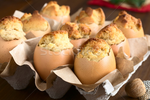 Eggnog Cupcakes in Eggshell Stock photo © ildi