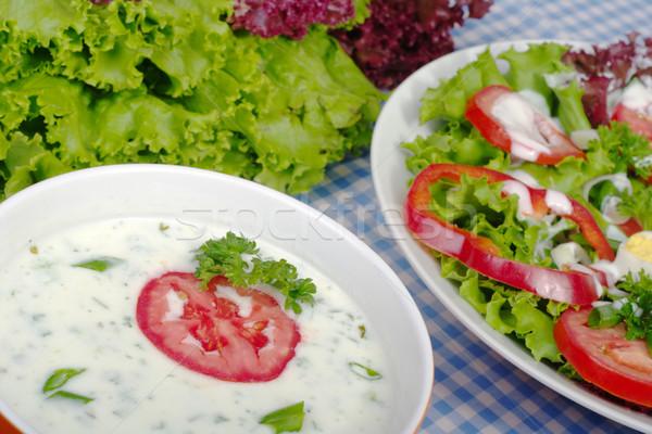 Yoğurt salata sosu dışarı sarımsak keklikotu tuz Stok fotoğraf © ildi