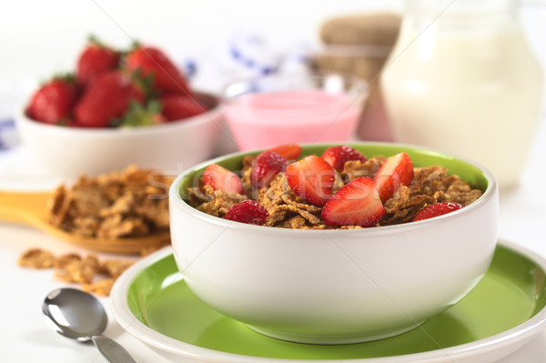 Wholewheat Flakes with Fresh Strawberries Stock photo © ildi