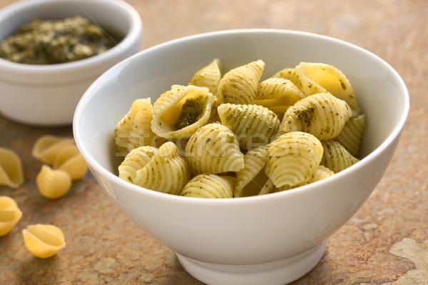 Pesto on Shell Pasta, Italian Cuisine Stock photo © ildi