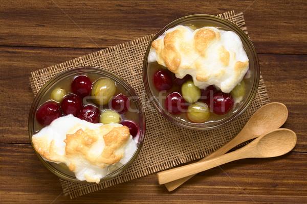 Stewed Gooseberry Dessert with Meringue Stock photo © ildi