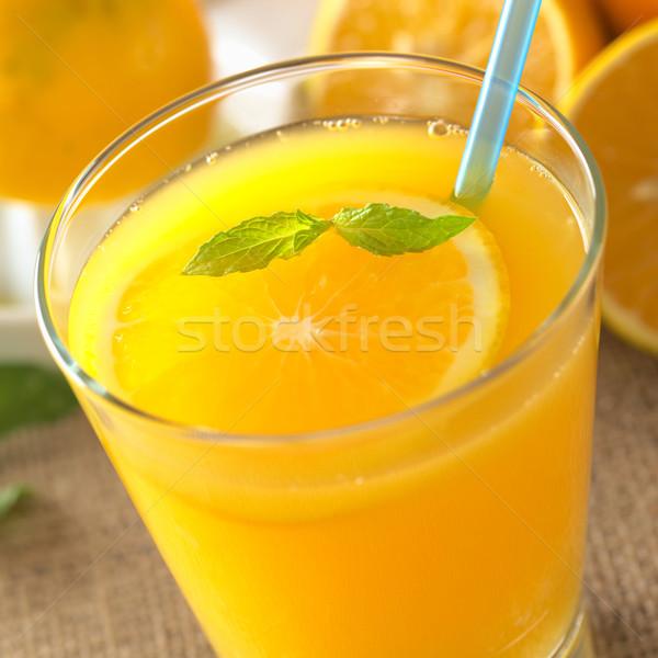 Stock fotó: Friss · narancslé · frissen · narancsszelet · menta · levél