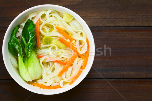 Asian Rice Noodle Soup with Vegetables Stock photo © ildi