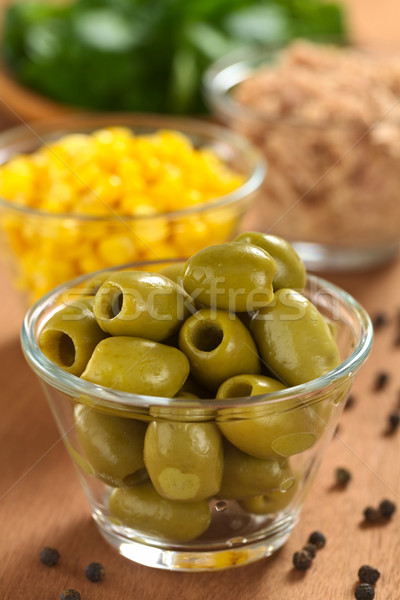 Green Olives and Other Salad Ingredients Stock photo © ildi