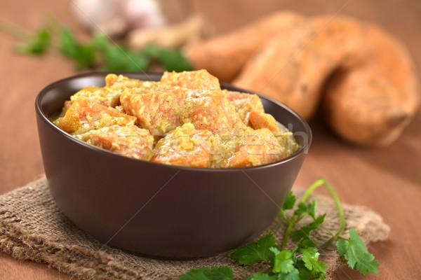 Patata dolce cocco strigliare ciotola vegetariano ingredienti Foto d'archivio © ildi