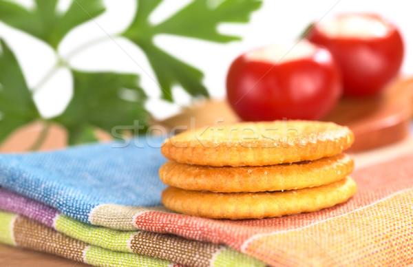 Tuzlu tekstil kırmızı biber maydanoz Stok fotoğraf © ildi