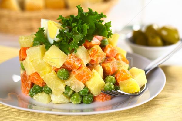 ベジタリアン ロシア サラダ ジャガイモ ニンジン エンドウ ストックフォト © ildi