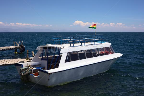 Tur tekne göl Bolivya ahşap yakın Stok fotoğraf © ildi