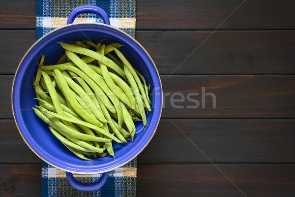 Raw Green Beans in Blue Strainer Stock photo © ildi