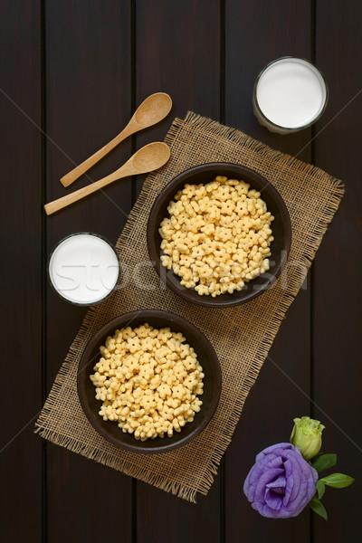 はちみつ 朝食用シリアル ミルク 2 素朴な ボウル ストックフォト © ildi
