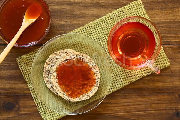 Rose Hip Jam on Bread with Rose Hip Tea Stock photo © ildi