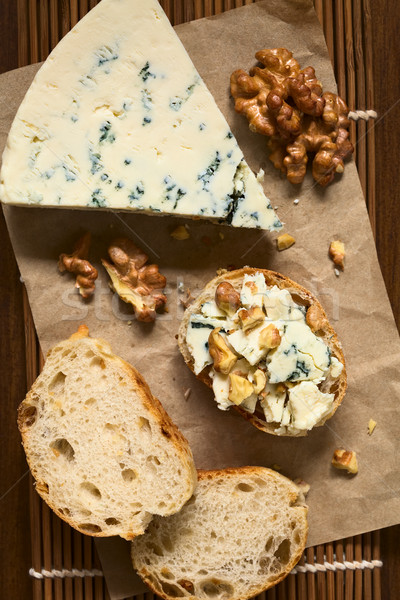 Blue Cheese and Walnut Canape Stock photo © ildi