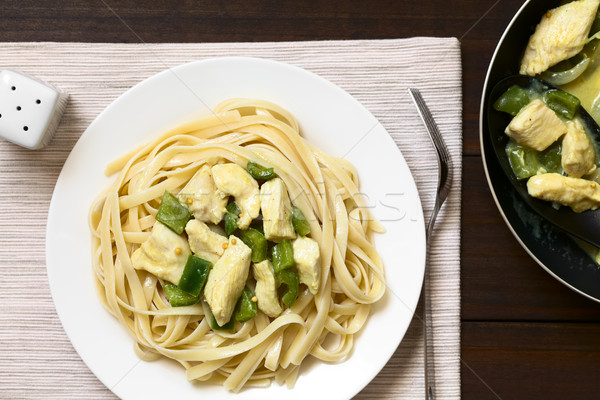 Chicken in Mustard Sauce on Fettuccine Pasta Stock photo © ildi