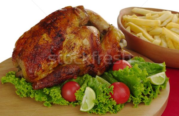 Roast Chicken with Salad and Fries Stock photo © ildi