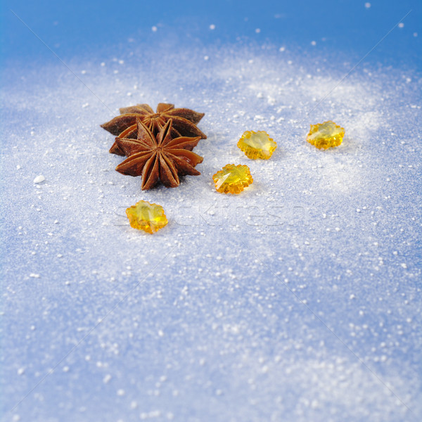 Estrela anis amarelo pedras azul coberto Foto stock © ildi