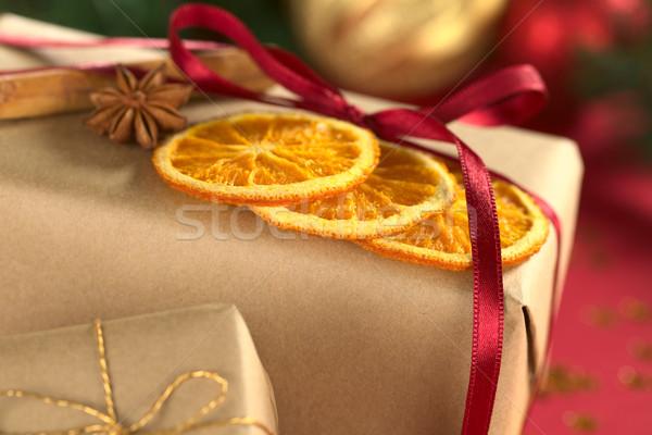 Foto d'archivio: Natale · presenta · decorato · essiccati · arancione · fette