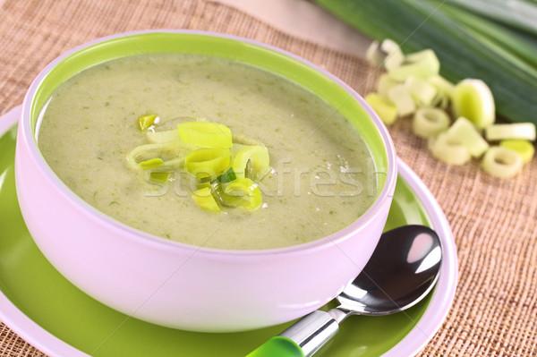 Prei soep kom vol vers eigengemaakt Stockfoto © ildi