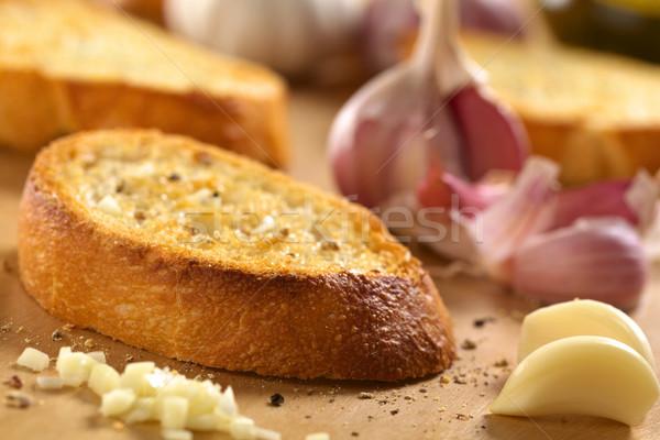 Bruschetta aglio pepe fresche fatto in casa croccante Foto d'archivio © ildi