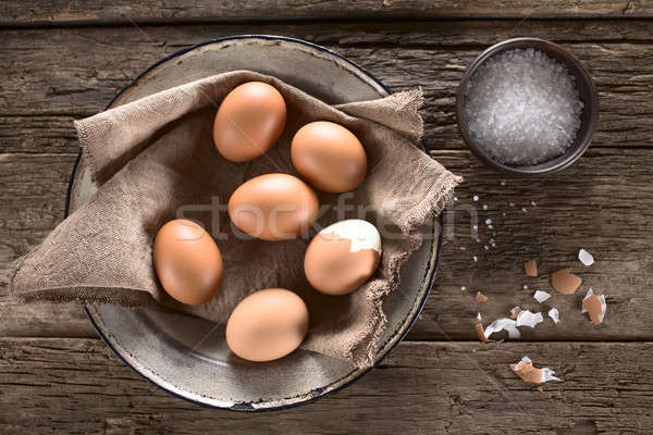 Cooked Brown Eggs Stock photo © ildi