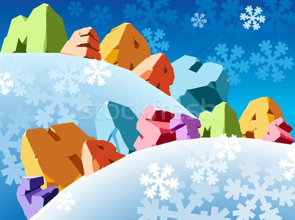 Slogan joyeux Noël hiver bleu célébration Photo stock © ildogesto