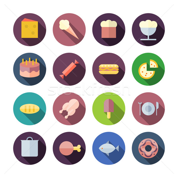 Flat Design Icons For Food Stock photo © ildogesto