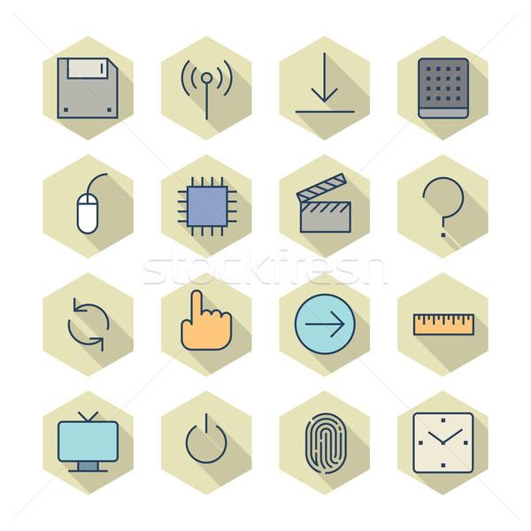 Thin Line Icons For Interface Stock photo © ildogesto