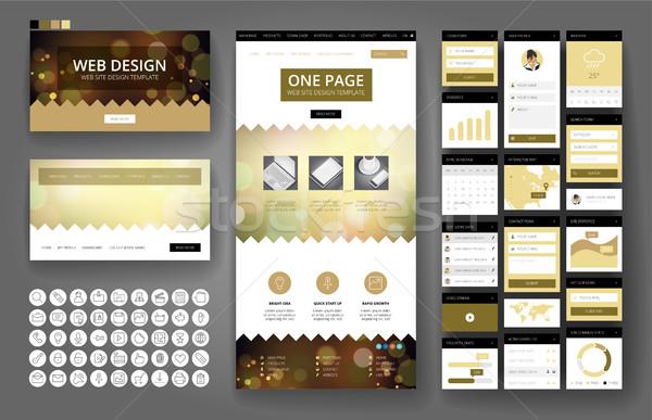 Foto d'archivio: Progettazione · di · siti · web · modello · interfaccia · elementi · sito · uno