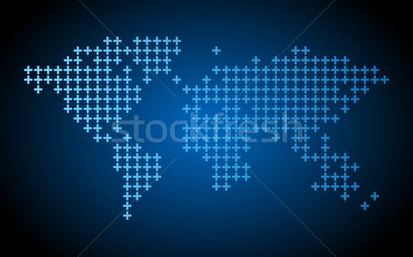 Noktalı dünya haritası karanlık mavi dizayn dünya Stok fotoğraf © ildogesto
