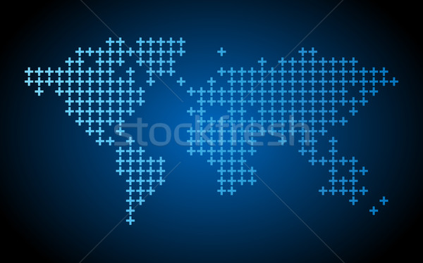 Pontilhado mapa do mundo escuro azul projeto mundo Foto stock © ildogesto
