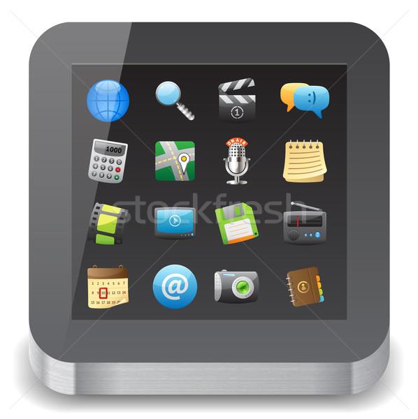 Icon app iconen display witte Stockfoto © ildogesto