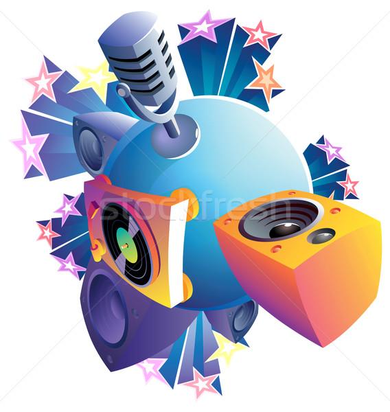 Zene világ izolált földgömb diszkó kék Stock fotó © ildogesto