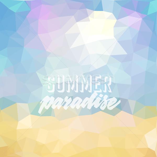 Férias de verão praia tropical verão paraíso cartaz vetor Foto stock © ildogesto