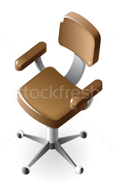 Isometrische icon stoel uitvoerende bruin leder Stockfoto © ildogesto