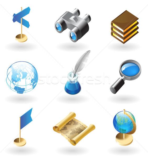 Ikona geografia wysoki szczegółowy realistyczny książek Zdjęcia stock © ildogesto