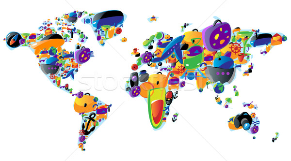 World map of colorful icons Stock photo © ildogesto