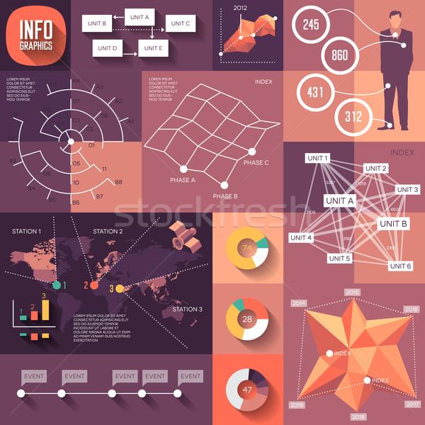 Infographics ontwerp lang schaduwen eps10 Stockfoto © ildogesto