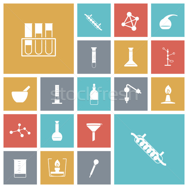 Flat design icons for chemistry lab Stock photo © ildogesto