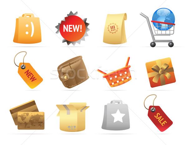 Iconen detailhandel wereld star Rood goud Stockfoto © ildogesto