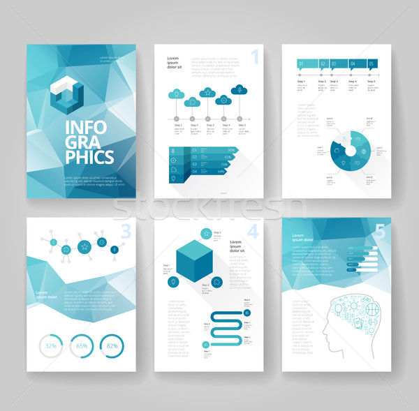 Business brochure template with infographics Stock photo © ildogesto