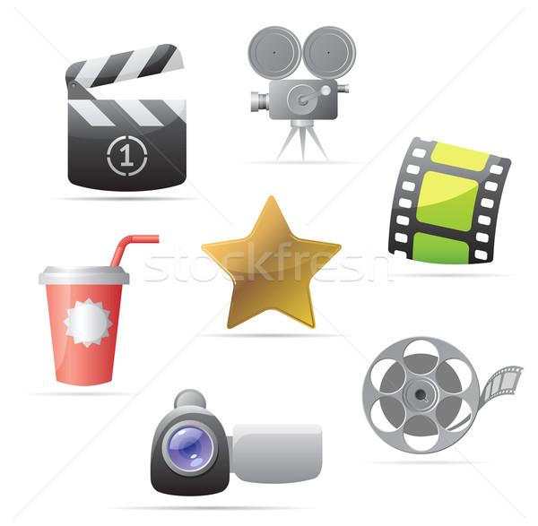 Foto stock: ícones · filmes · projeto · assinar · estrela · cinema