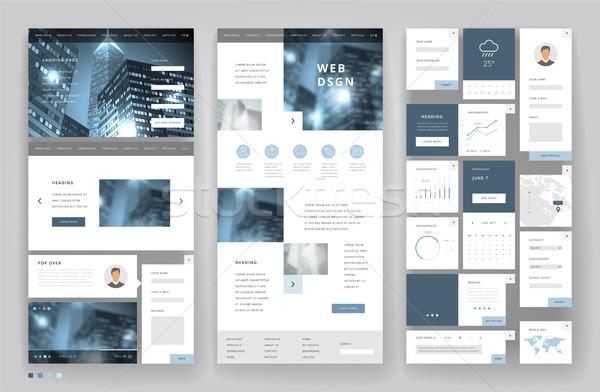 Website template design with interface elements Stock photo © ildogesto