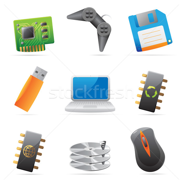 Icons for computer and computer parts Stock photo © ildogesto