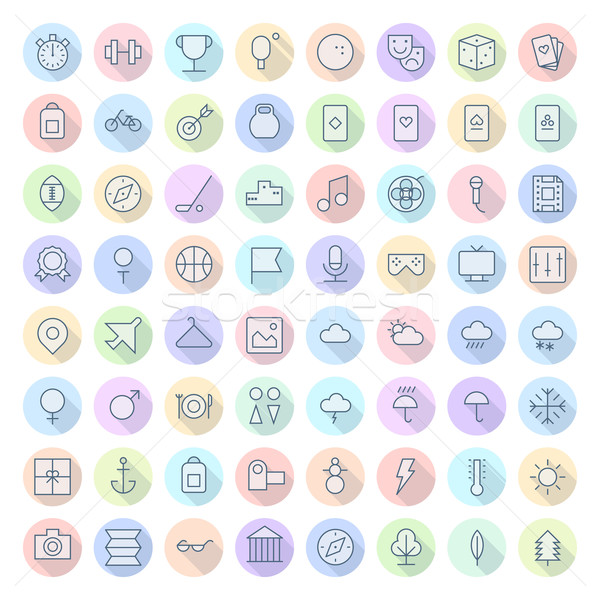 Thin Line Icons For Leisure, Sport, Travel and Weather Stock photo © ildogesto