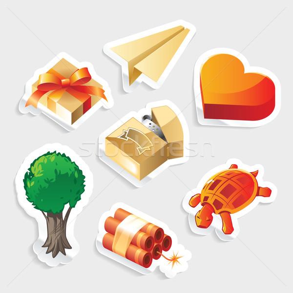 Miscellaneous sticker icon set Stock photo © ildogesto