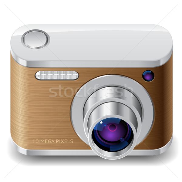 アイコン コンパクト 写真 カメラ 装飾された 木材 ストックフォト © ildogesto