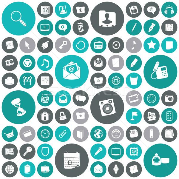 Ontwerp iconen gebruiker interface muziek telefoon Stockfoto © ildogesto
